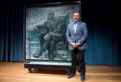 "WASHINGTON, DC - FEBRUARY 22: Kevin Spacey poses for a photo with a portrait of President Frank Underwood (from the Netflix series ""House Of Cards"") at a press conference hosted by The Smithsonian and Netflix at the National Portrait Gallery on February 22, 2016 in Washington, DC. (Leigh Vogel/Getty Images for Netflix)"