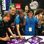Space Command signing with Bryan McClure, Ethan McDowwell, Aaron Gaffey, Justin Sorvillo, David Raiken