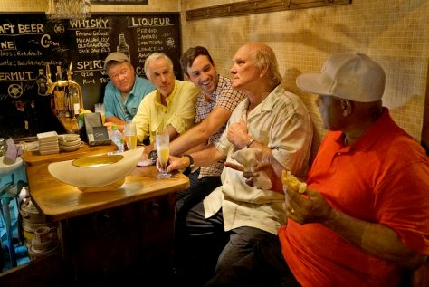 "BETTER LATE THAN NEVER -- ""Tokyo, Japan"" Episode 101 -- Pictured: (l-r) William, Shatner, Henry Winkler, Jeff Dye, Terry Bradshaw, George Foreman -- (Photo by: Paul Drinkwater/NBC)"