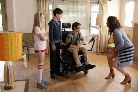 """SPEECHLESS - """"Pilot"""" - Maya DiMeo moves her family to a new, upscale school district when she finds the perfect situation for her eldest son, JJ, who has cerebral palsy. While JJ and daughter Dylan are thrilled with the move, middle son Ray is frustrated by the family's tendencies to constantly move, since he feels his needs are second to JJ Soon, Maya realizes it is not the right situation for JJ and attempts to uproot the family again. But JJ connects with Kenneth, the school's groundskeeper, and asks him to step in as a his caregiver, and Ray manages to convince Maya to give the school another chance, on the series premiere """"Speechless"""" WEDNESDAY, SEPTEMBER 21 (8:30-9:00 p.m. EDT), on the ABC Television Network. (ABC/Nicole Wilder) KYLA KENEDY, MASON COOK, MICAH FOWLER, MINNIE DRIVER"""