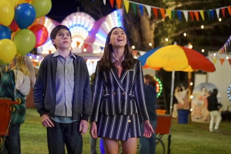 """SPEECHLESS - """"Pilot"""" - Maya DiMeo moves her family to a new, upscale school district when she finds the perfect situation for her eldest son, JJ, who has cerebral palsy. While JJ and daughter Dylan are thrilled with the move, middle son Ray is frustrated by the family's tendencies to constantly move, since he feels his needs are second to JJ Soon, Maya realizes it is not the right situation for JJ and attempts to uproot the family again. But JJ connects with Kenneth, the school's groundskeeper, and asks him to step in as a his caregiver, and Ray manages to convince Maya to give the school another chance, on the series premiere """"Speechless"""" WEDNESDAY, SEPTEMBER 21 (8:30-9:00 p.m. EDT), on the ABC Television Network. (ABC/Eric McCandless) MASON COOK, LUKITA MAXWELL"""