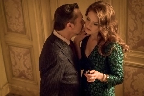 """GOTHAM: L-R: Guest star Jeremy Crutchley and guest star Maggie Geha in the """"Mad City: Executioner"""" episode of GOTHAM airing Monday, Nov. 14 (8:00-9:01 PM ET/PT) on FOX. ©2016 Fox Broadcasting Co. Cr: Jeff Neumann/FOX"""