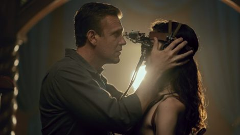Jason Segel as Peter, Eve Lindley as Simone; group - Dispatches from Elsewhere _ Season 1 - Photo Credit: Zach Dilgard/AMC