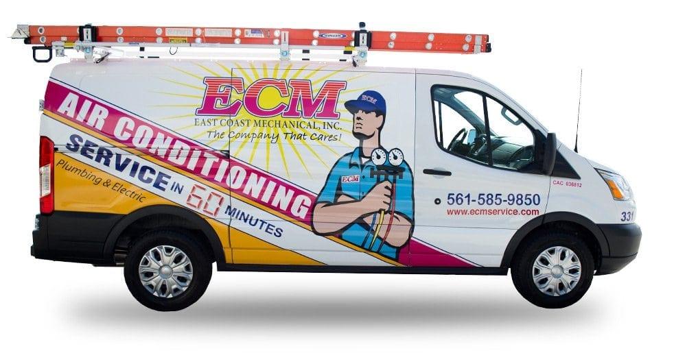 ECM Air Conditioning & Plumbing Company Truck