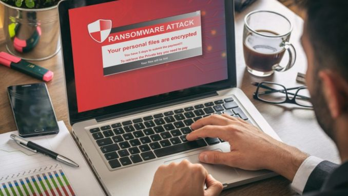 Ransomware alert message on a laptop screen, ©Fotolia