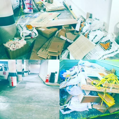 before, after and ready for transport for separation and recycling.