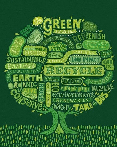 Ideas for an eco friendly lifestyle, with a tree image showing various challenges
