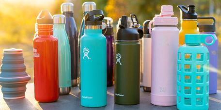 A range of different reusable water bottles, to replace bottled water