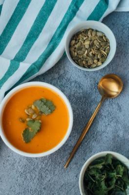 Photo showing a bowl of pumpkin soup