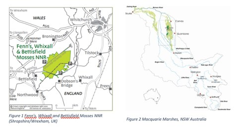 Whixall Moss and Macquarie Marshes maps