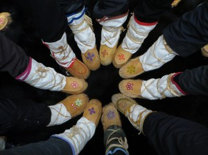 These beautiful and functional winter moccasins were hand sewn and embroidered by Anna Bosum.  They are traditional footwear during cold, dry weather.  They are very light and very warm.  Unlike leather, rubber, or synthetic winter boots, they allow perspiration to escape.