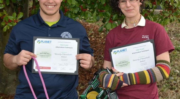 UMass Arbor Team Wins First Place in PLANET Competition and Alumna Places in International Tree Climbing Competition