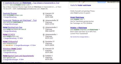 Google Suchergebnis mit Maps-Treffern