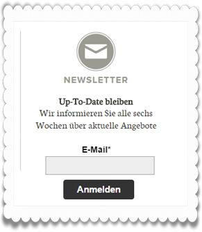 Beispiel für eine Anmelde-Widget für Newsletter