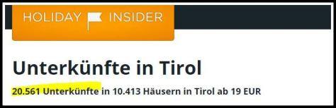HolidayInsider: 20.561 Unterkünfte in Tirol