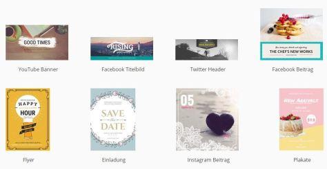 FotoJet: Format- und Designvorlagen für gängige soziale Netzwerke