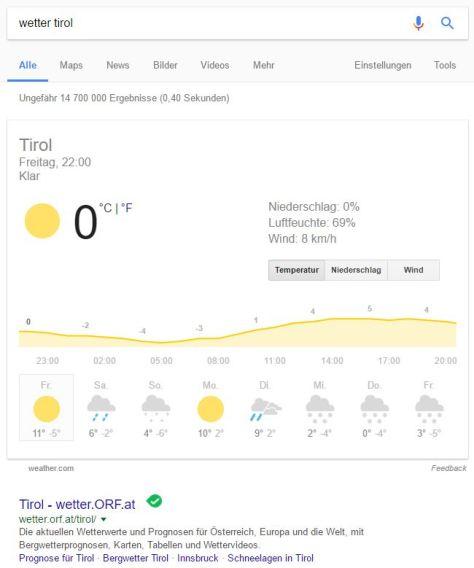 Wettervorhersage im Google-Such-Ergebnis