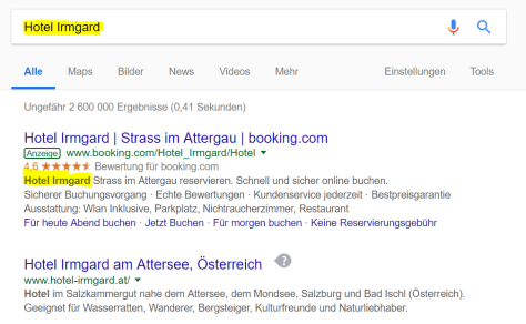 """Brand Bidding: auf das Suchwort """"Hotel Irmgard"""" kommt eine Anzeige von Booking.com mit dem Hotelnamen im Text"""