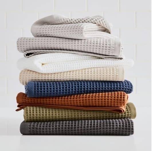 organic waffle towels by west elm