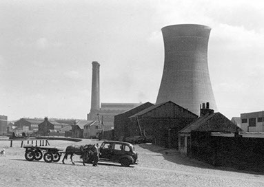 Image of mow demolished Port Dundas Power Station.Port Dundas Power Station served the Tram System in Glasgow.