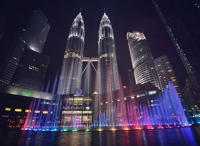 The Petronas Towers in the center of Kuala Lumpur