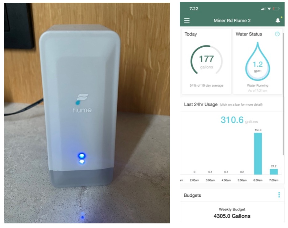 The Flume Wi-Fi Bridge And A View Of The Smartphone App Interface Tracking Daily Water Usage