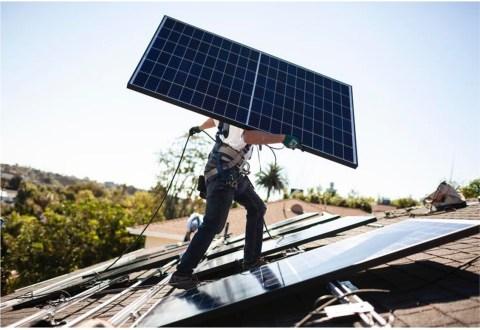 Installation of solar panel on roof