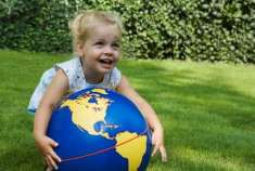 Child with Earth ball