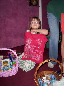 My daughter showing off her Easter goodies