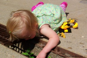 digging for worms and composting with kids