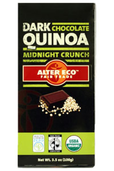 Fair Trade Holiday Sweets:  Sunspire Organic Baking Bar and Alter Eco Dark Chocolate Quinoa