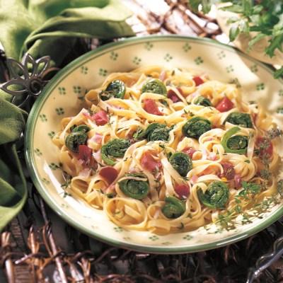 Vegetarian, Vegan, Herbal Recipes:  Fettuccine and Fiddleheads in Thyme Vinaigrette