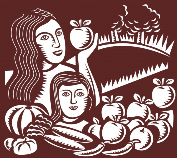 woman_child_apple_fruits