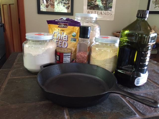 Vegan, chia seed corn bread ingredients
