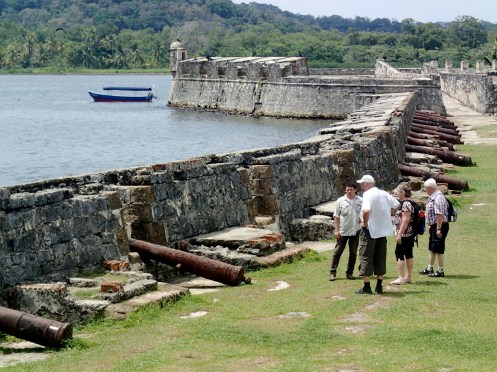 Exploring the ruins of the old Spanish fort at Portobello