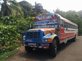 Public colorful buses in Colon