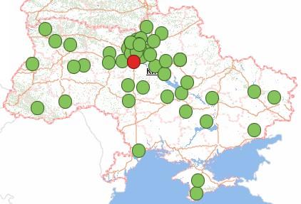 Карта якості води в Україні. Вміст нітратів у водопровідній воді