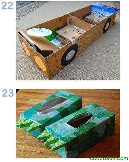 automovil de carton  25 formas de reciclar cajas de cartón para que tus hijos se diviertan