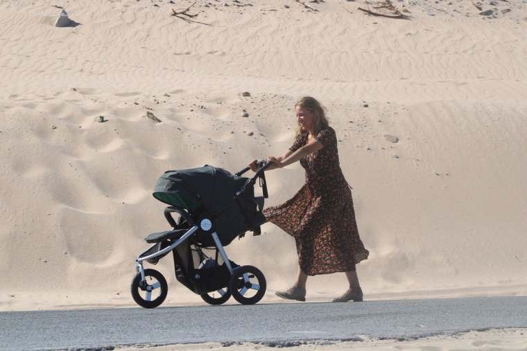 A stroller made from recycled milk bottles