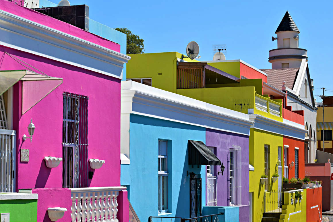 Colorful houses in Bo-Kaap Cape Town South Africa