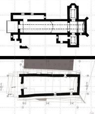 Arriba, planta de la iglesia de Sutatausa; abajo, planta de la iglesia de Sáchica.