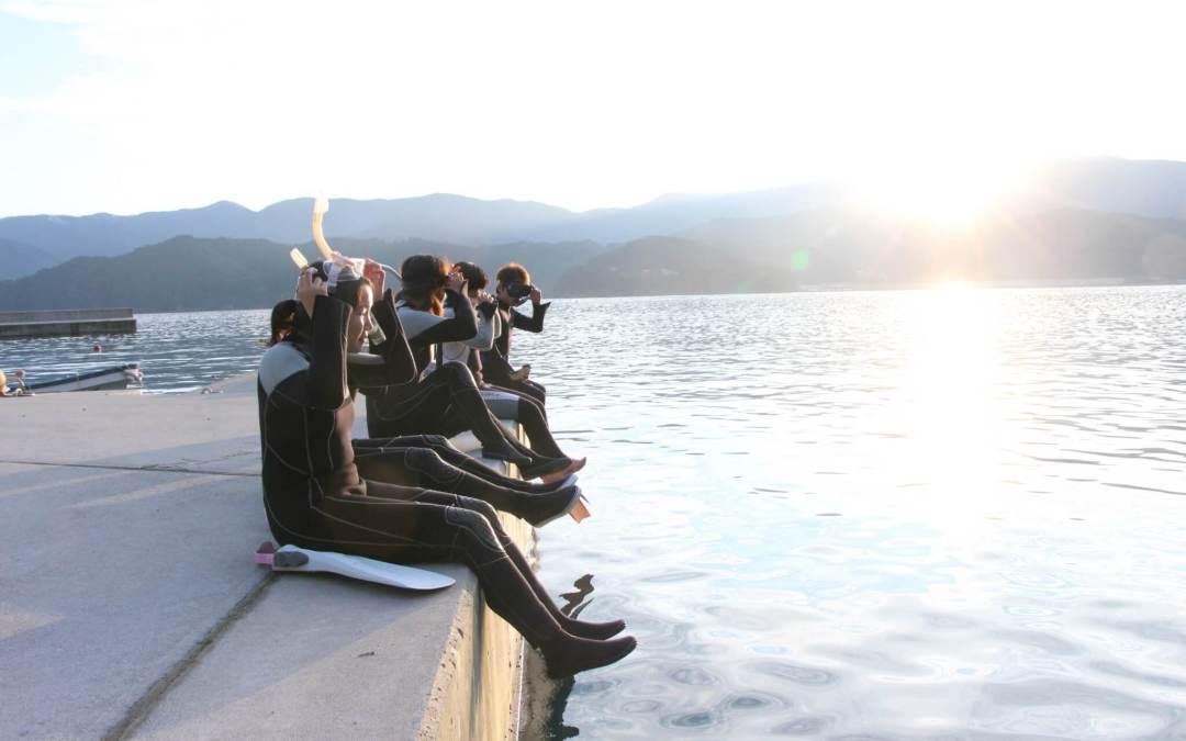 夕日のシュノーケリング