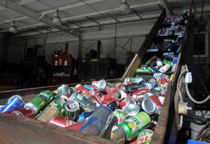 aluminium cans being recycled