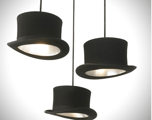 Hanging lamps made of old hats_1