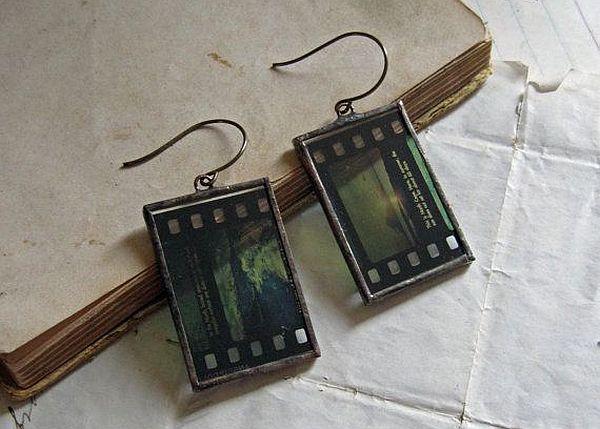 Vintage filmstrip earrings