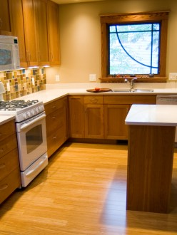 Natural Fibrestrand bamboo in a dimly lit kitchen