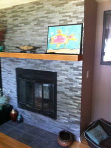 1 x 6 horizontal mount on fireplace