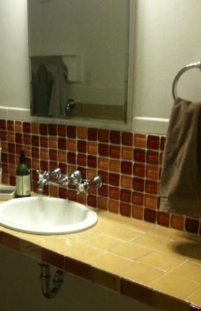 Pumpkin/Wine mix for bathroom backsplash.