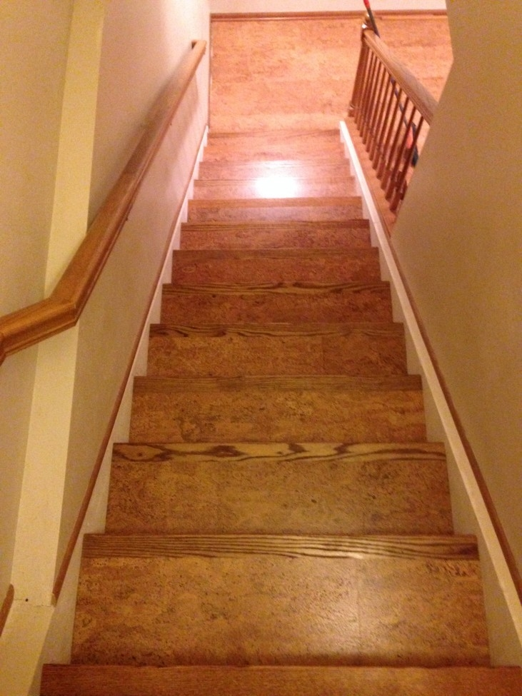 Corkifying Your Stair Case Eco Friendly Flooring | Stairs Covered In Wood | Round | Interior | Metal | Random | Luxury