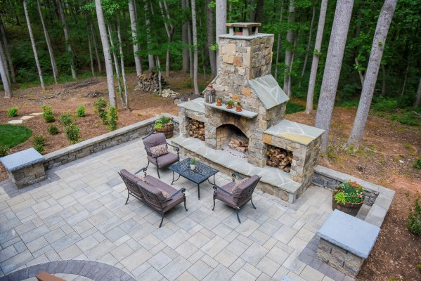 paver patio designs with fireplace Paver Patio with Outdoor Fireplace | EcoGreen Landscaping